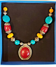 Bajalia HSN Designer Chunky Necklace from India, Turquoise, Amber, Silver, Red