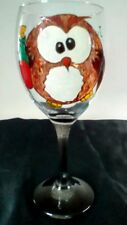Hand Painted Owl Rescue Bottle Meme Character Large Washable Wine Glass Black UK