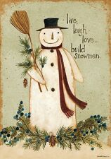 Build Snowman, live, laugh, love winter country folk small Garden Flag 2 Sided