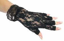 Rockin 80s Black Fingerless Lace Gloves with Ruffle Pop Star Floral Lace fnt