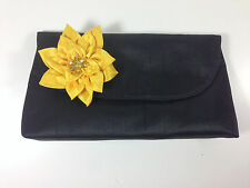 Flower Fabric Clutch Purse Pendant Brooch Embellished Floral Black Yellow Flap