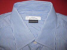 $295 VERSACE COLLECTION COTTON DRESS SHIRT 16.5/42 BLUE/WHITE STRIPE NEW