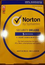 Brand New Symantec Norton Security with Antivirus Deluxe - 5 Devices Key Card