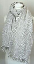 AMICALE Boucle Herringbone Throw Blanket Scarf Cream White Cashmere Wrap $85 NW