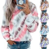 Womens Tie Dye Long Sleeve Casual Hoodie Jumper Loose Sweatshirt Tops Plus Size