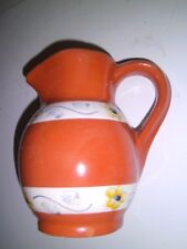 Vintage Portuguese Art Pottery Hand Painted Pitcher Portugal Rustic Cabin 1940's