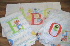 Vintage Sesame Street Bert Ernie Twin Sheet Set w/ Pillowcase Alphabet Abc's