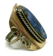 """Anillo Artesanal """" Abril  """" piedra de Sodalita azul  Base  en alpaca"""