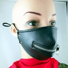 Hot Punk Rave Masquerade Womens Mens Zipper Mask Mouthguard Leather Goth Hip Hop