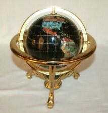 Lapis & Brass Gemstone World Globe, Semi precious stone inlays, compass in stand