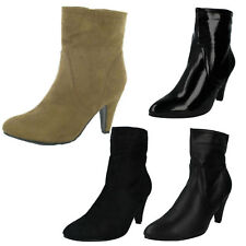 SALE LADIES ZIP UP POINTED TOE SLIM HIGH HEEL CASUAL ANKLE BOOTS SPOT ON F5678