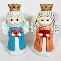 Vintage Angel Candle Holder Set Choir Singing Carolers Christmas Kitsch Decor
