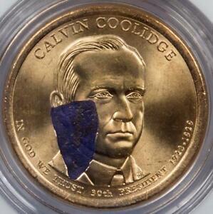 2014 NGC MS67 Retained Struck Thru Huge Blue Plastic Coolidge Dollar Mint Error