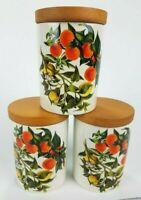 """3 Vintage Portmeirion Oranges & Lemons CANISTERS STORAGE JARS Wooden Lid  4.5"""""""