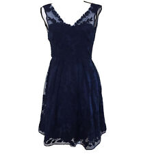 Anthropologie Yoana Baraschi Navy Blue Lace Mesh Embroidered Dress Sz 0