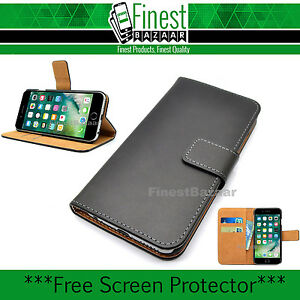 Premium Black Genuine Leather Wallet Magnetic Flip Case Cover For iPhone 6 Plus