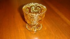 Vintage Amber Glass Very Small Cup Or Trinket Holder Heart Design