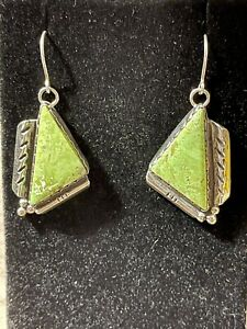 Authentic Sterling Silver Native American Signed Gaspeite Earrings