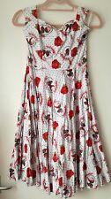 Hell Bunny blanc \ rouge Rockabilly Gothique Crâne Tatouage Robe imprimée (s/10/12)