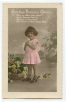 c 1920 Child Children CUTE LITTLE GIRL British tinted photo postcard