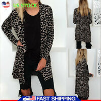 Womens Autumn Long Sleeves Leopard Print Cardigans Loose Coat Jackets Outwear US