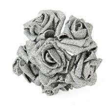 Full Glittered Foam Roses Artificial Flowers Bling Glittery Shiny Fake Silk Silver