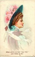 "Vtg Postcard 1909 Ludwig Knoefel Artist Signed Beautiful Woman in Hat ""Joyride"""
