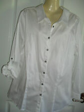 SZ 14W AUTOGRAPH BEAUTIFUL CRISP WHITE  COTTON SHIRT ADJUST  SLEEVES  BNWT $25