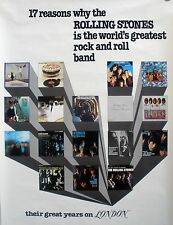 RARE ROLLING STONES LONDON RECORDS 1978 VINTAGE MUSIC RECORD STORE PROMO POSTER