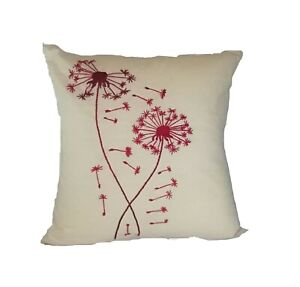 Embroidered Pillow Case, Red Dandelion Embroidered Pillow case, Throw Pillow