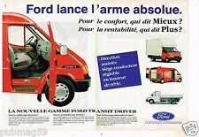 Publicité advertising 1992 (2 pages) Camion fourgon utilitaire Ford Transit