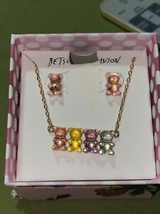 Betsey Johnson Gummy Bear Stud  Earrings And Pendant Necklace