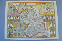 Vintage decorative sheet map of Lancaster Lancashire John Speede 1610