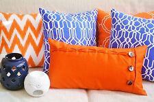 Oblong Cushion Cover Orange Pillow Case Button & Loop Closure Bright Rectangular
