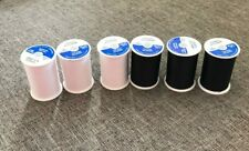 Coats and Clark Dual Duty All Purpose Thread, 3 White 3 Black  (6 Pack) 400yd