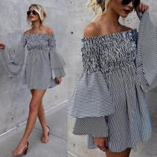 Womens Holiday off Shoulder Striped Lotus Long Sleeve Party Casual Mini Dress UK Black XL