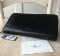 Fossil EMMA Black Smooth Leather Large Zip Around Wallet RFID Retail $85 VGUC!