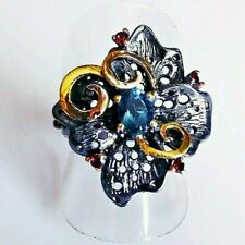 Fine Art London Topas Rhodolith Silber Ring 925 Black Rhodium Gold 18,4mm 58