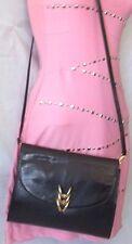 Vintage Bottega Veneta Black Leather Lizard Skin Clutch Shoulder Bag