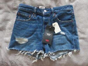 "1x Pair Women's 27"" Levi's High Rise Shorts Premium 501 Blue Denim Button Fly"