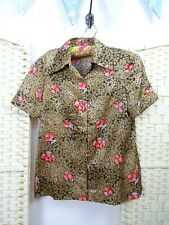 VINTAGE Oriental polyester silky  boho gold coral blossom festival shirt top S/M