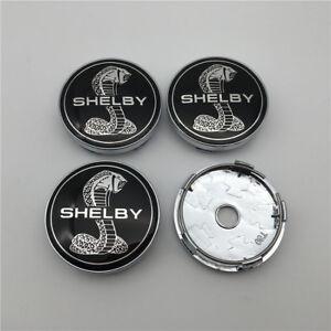 4PC For Cobra shelby GT500 Black Snake Chrome Wheel Rim Center Caps 60MM