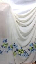 "Soft Touch Cream Chiffon Floral Border Print Fabric 60"" Wide"
