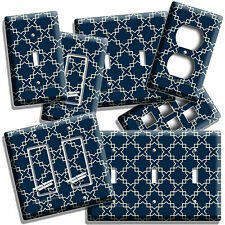 Teal Blue Arabic Trellis Pattern Light Switch Outlet Wall Plates Room Home Decor