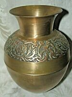 Vintage Art Deco Brass Metal Pot Jardiniere Planter Roses Floral Band English ?