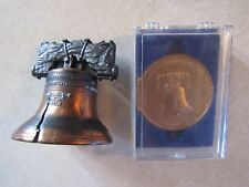 Vintage Liberty Bell Souvenirs Mini Replica Bell PLUS Large Token Coin