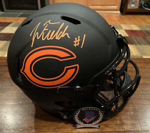 Justin Fields Signed Chicago Bears Eclipse Full Size Helmet Witness Beckett #1