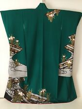 Vintage Japanese Silk Kimono FURISODE, Iris, Cherry Blossom, Green K321