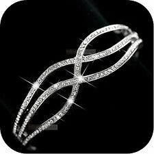 18k white gold gp made with SWAROVSKI crystal wide openable bangle bracelet