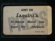 August 7, 1944 Esquire's All American Baseball Game Polo Grounds Press Pass